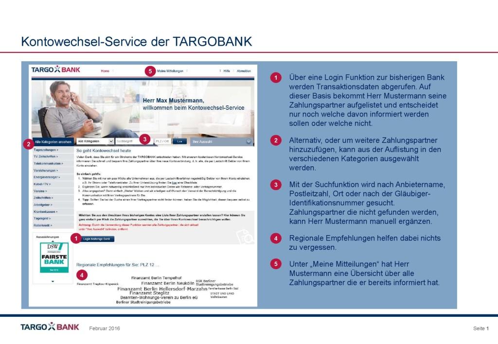 Kontowechselservice der TARGOBANK