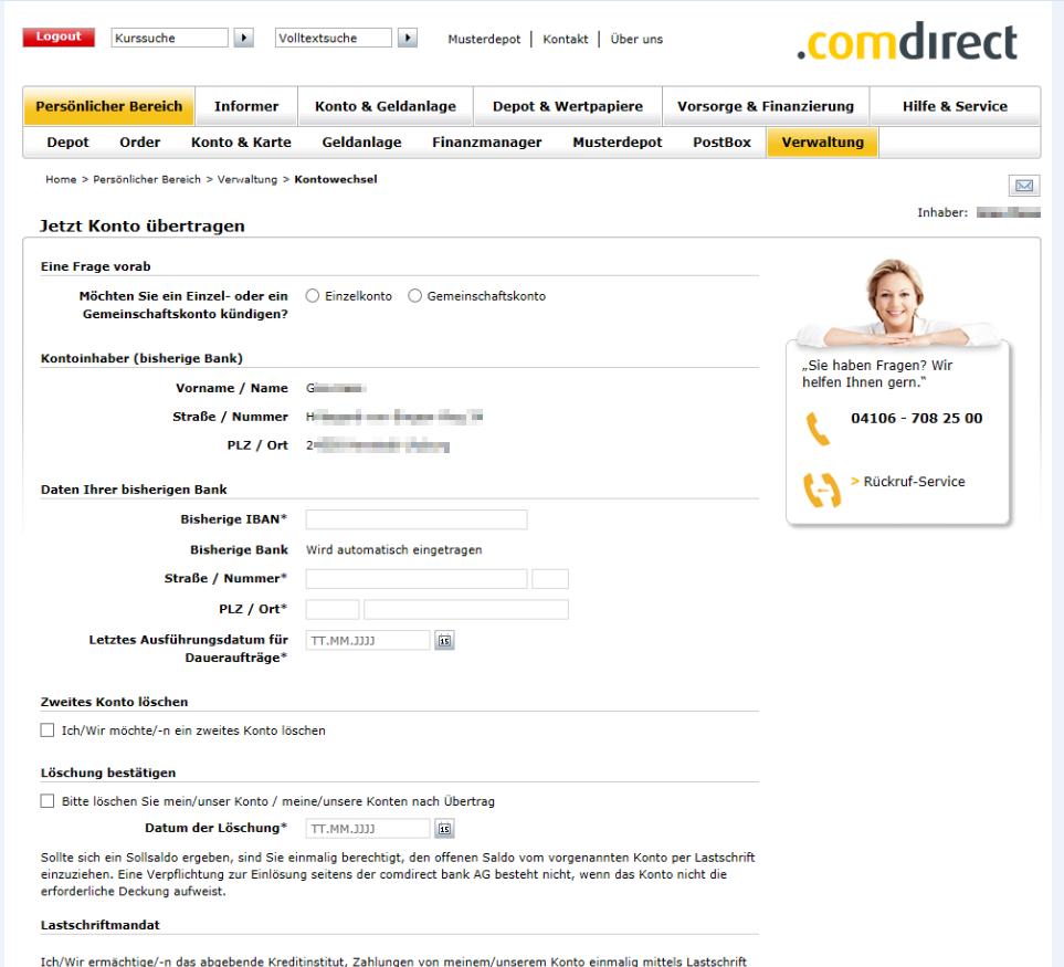 Kontoauszug Comdirect