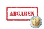 Aufschrift Steuerabgaben mit Euro-Münze