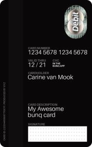 bunq MasterCard Rückseite