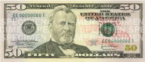 50 US-Dollar Banknote Vorderansicht