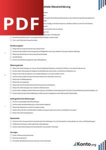 Kostenlose Checkliste für Ihre Steuererklärung