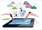 Tablet mit vielen Figuren, Wolken mit Pfeilen Richtung Tablet
