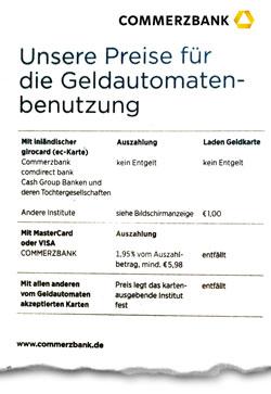 Foto des Preisaushangs für Fremdabhebung bei Commerzbank